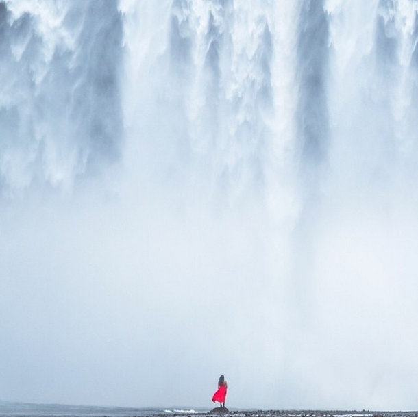 Standing under Skogafoss, Iceland / Photo of me by  @digernes