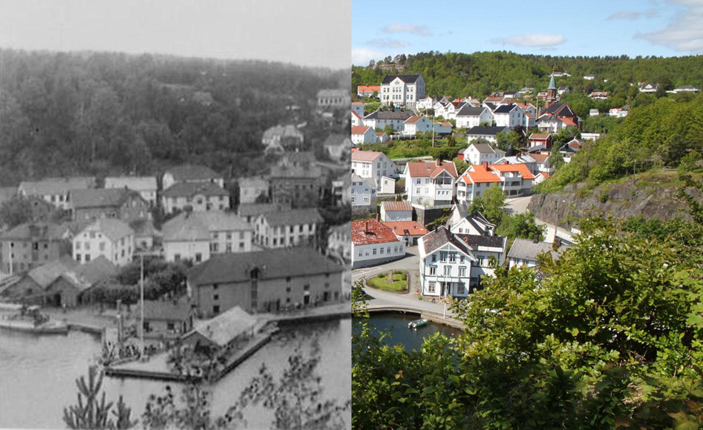 Tvedestrand Havn i 1912 og 2015. Foto: Wilse/Ida Monrad Haugen.