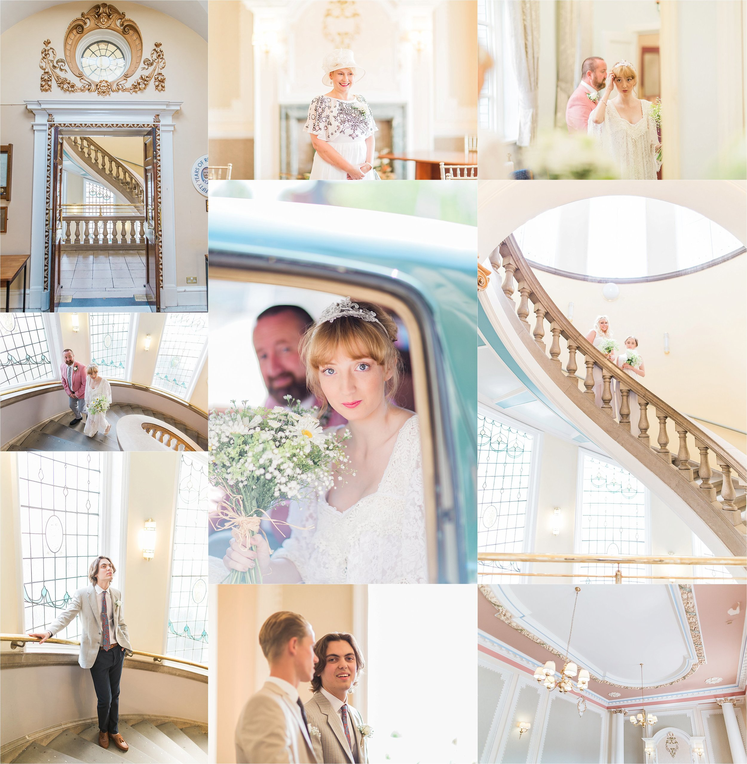 The wedding took place in the mayor's reception room at the  Municipal Buildings  in Crewe, with its stunning pastel palette and bright window light, this was the ceremony venue of dreams.