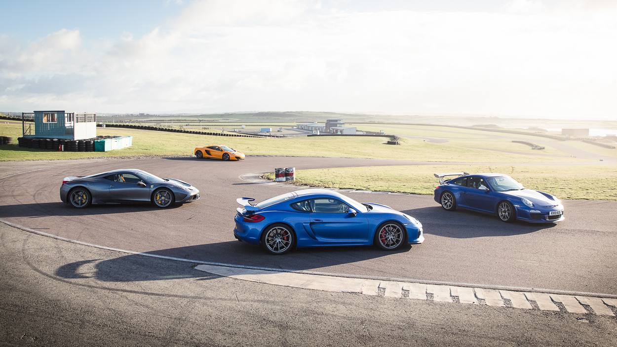 Porsche GT3 RS, Cayman GT4, Ferrari 458 Speciale and McLaren 12C at Anglesey