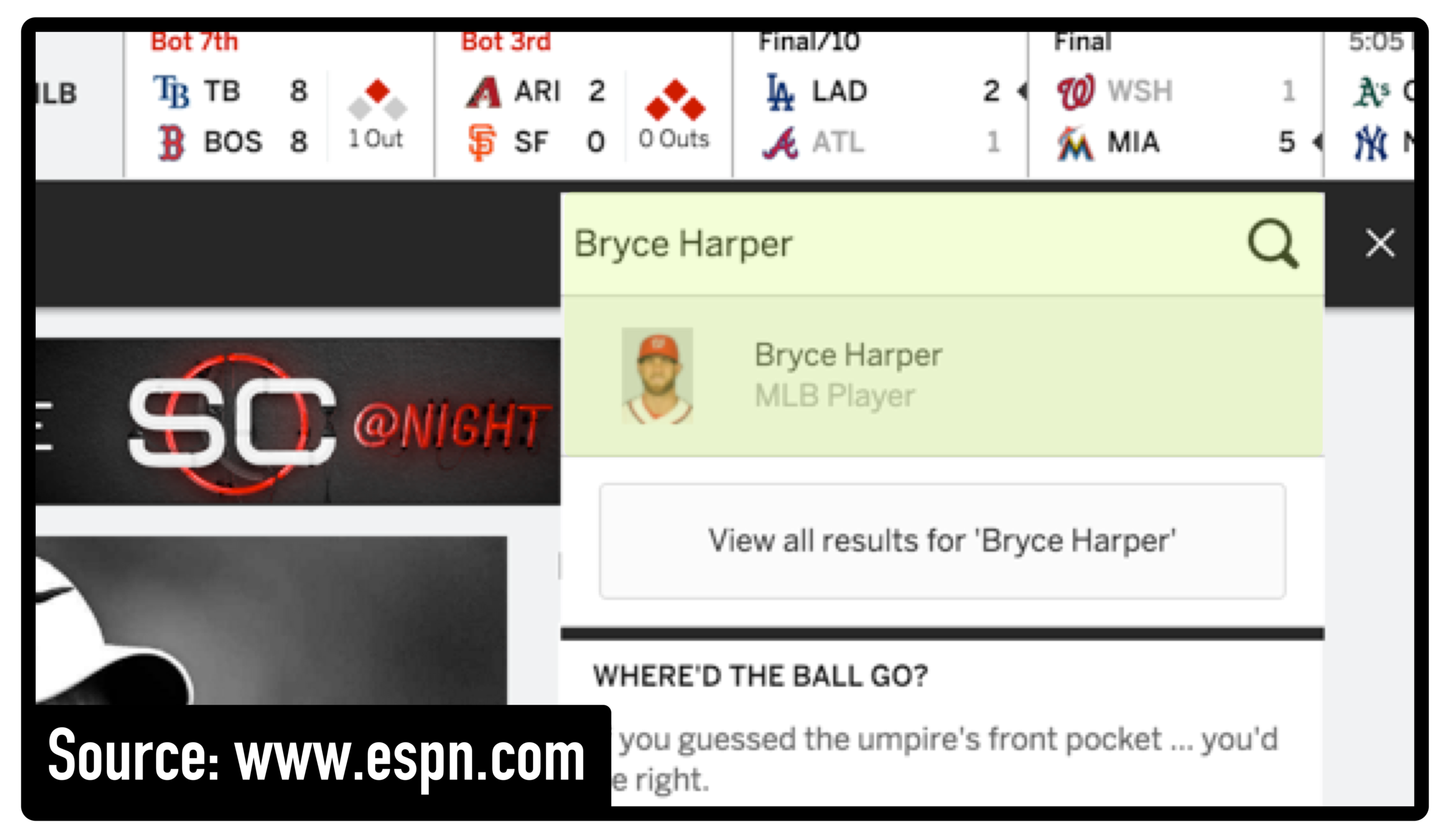 To access a player's statistical profile, type his or her name into the search box on ESPN.com.