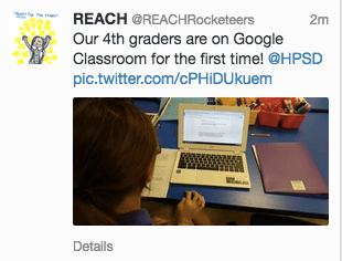 Example of a post on a class Twitter account.