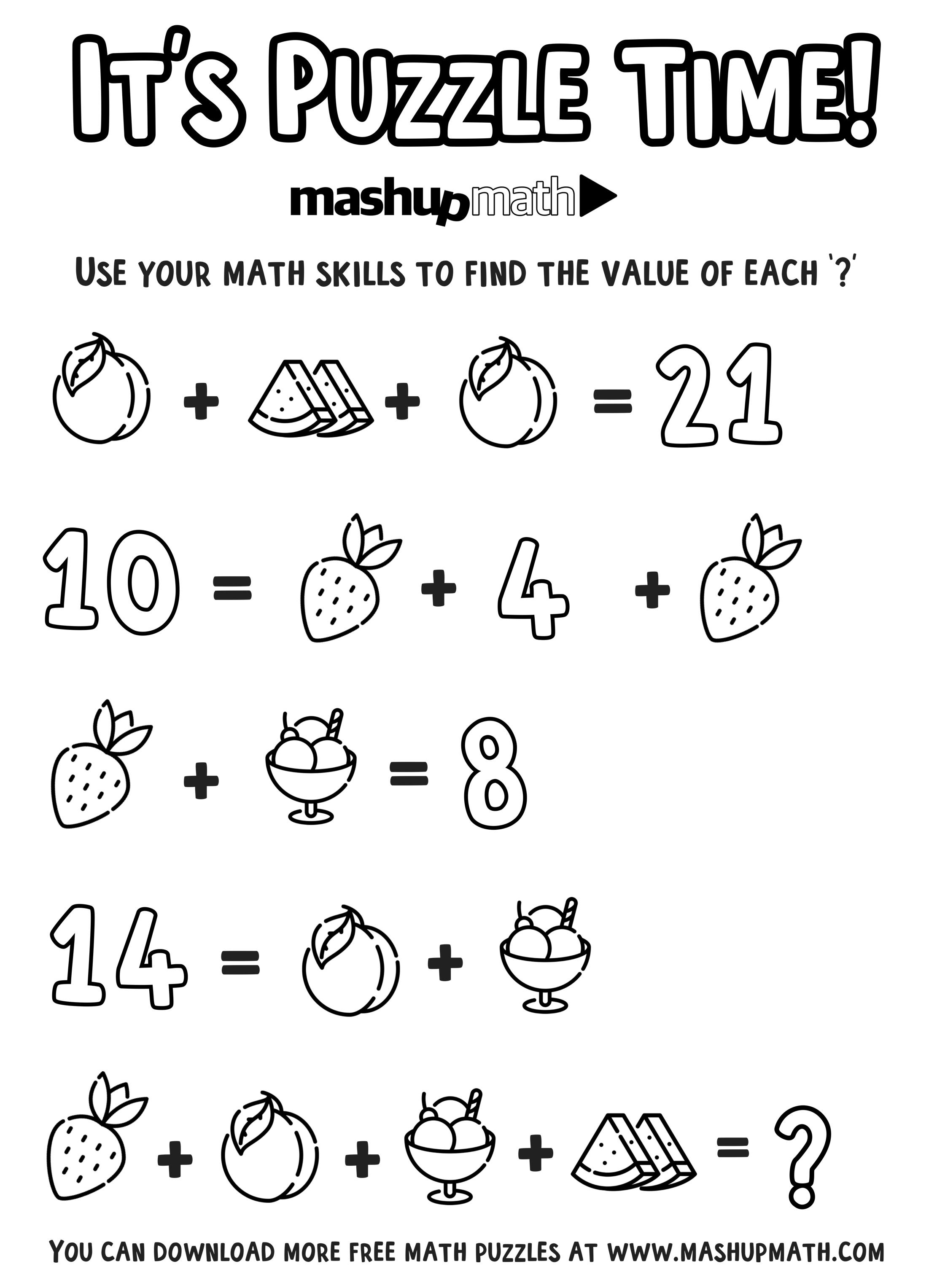 Free Math Coloring Worksheets for Grades 1-8 — Mashup Math
