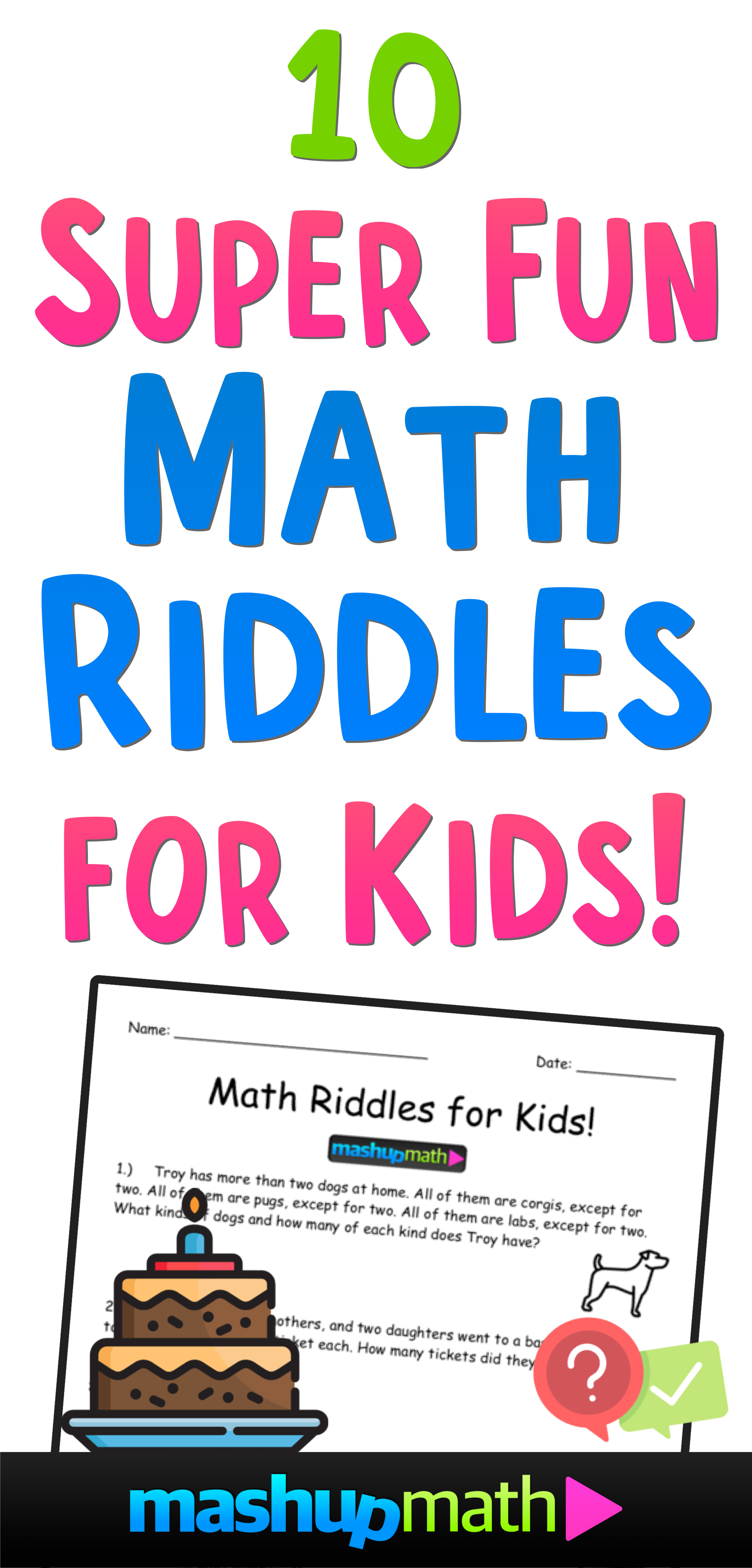 image relating to Riddles for Kids Printable identify 10 Tremendous Exciting Math Riddles for Youngsters (with Solutions) Mashup Math