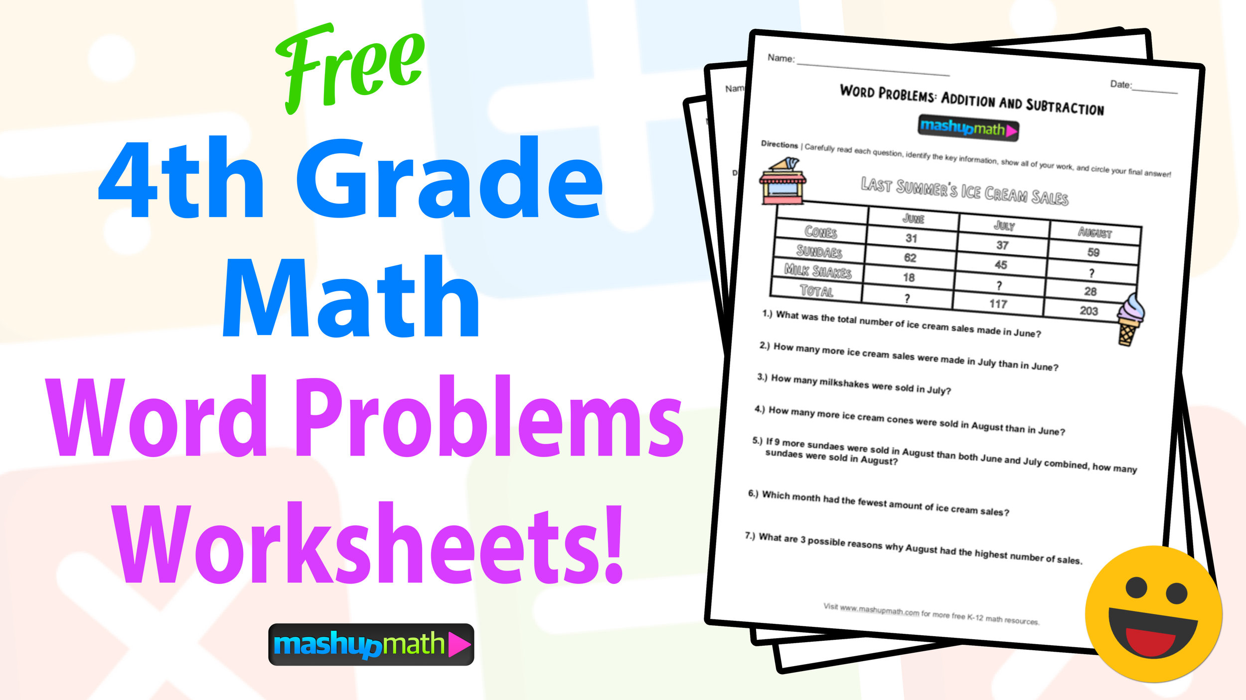 4th Grade Math Word Problems: Free Worksheets with Answers ...