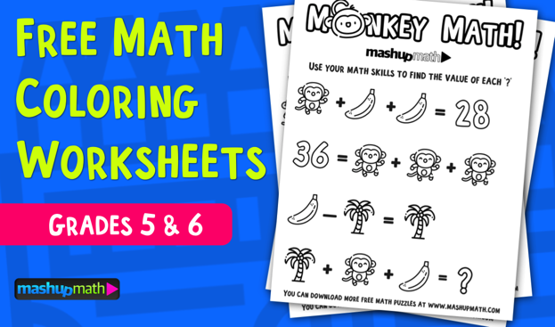 Free Math Coloring Worksheets For 5th And 6th Grade Mashup Math