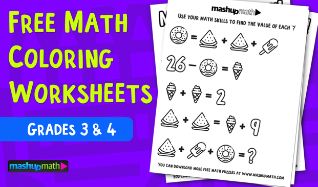 Free Math Coloring Worksheets For 3rd And 4th Grade Mashup Math