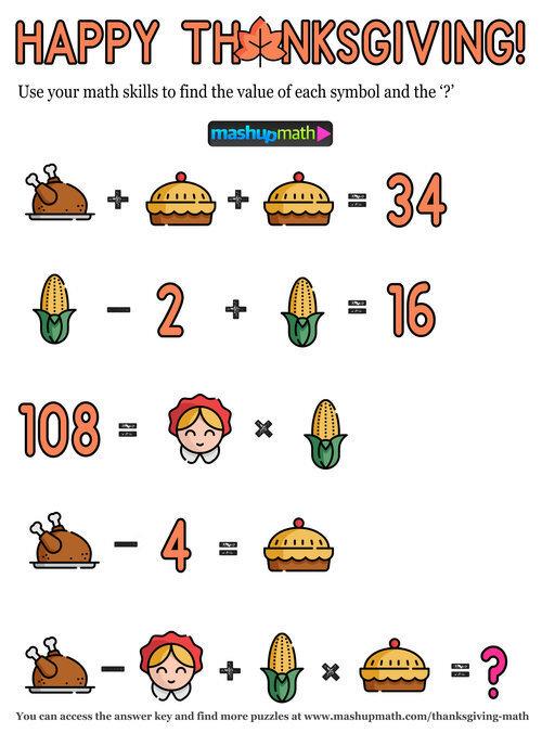 12 Thanksgiving Math Activities for Grades 1-8 — Mashup Math