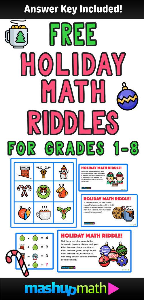5 Fun Christmas Math Riddles And Brain Teasers For Grades 1 8 Mashup Math