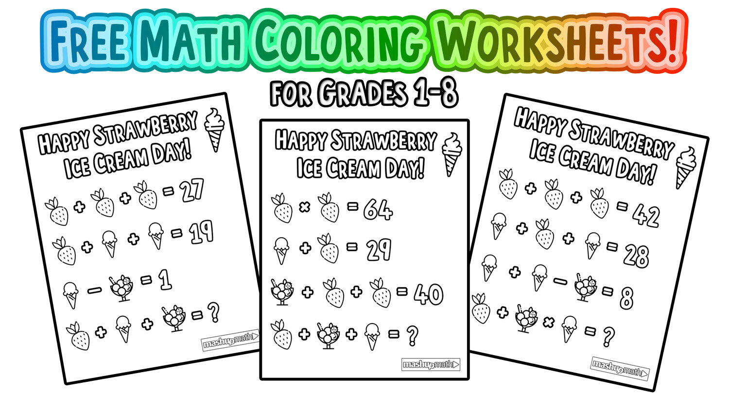 Free Math Coloring Pages For Grades 1 8 Mashup Math