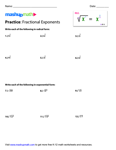 Fractional Exponents Lesson And Free Worksheet — Mashup Math