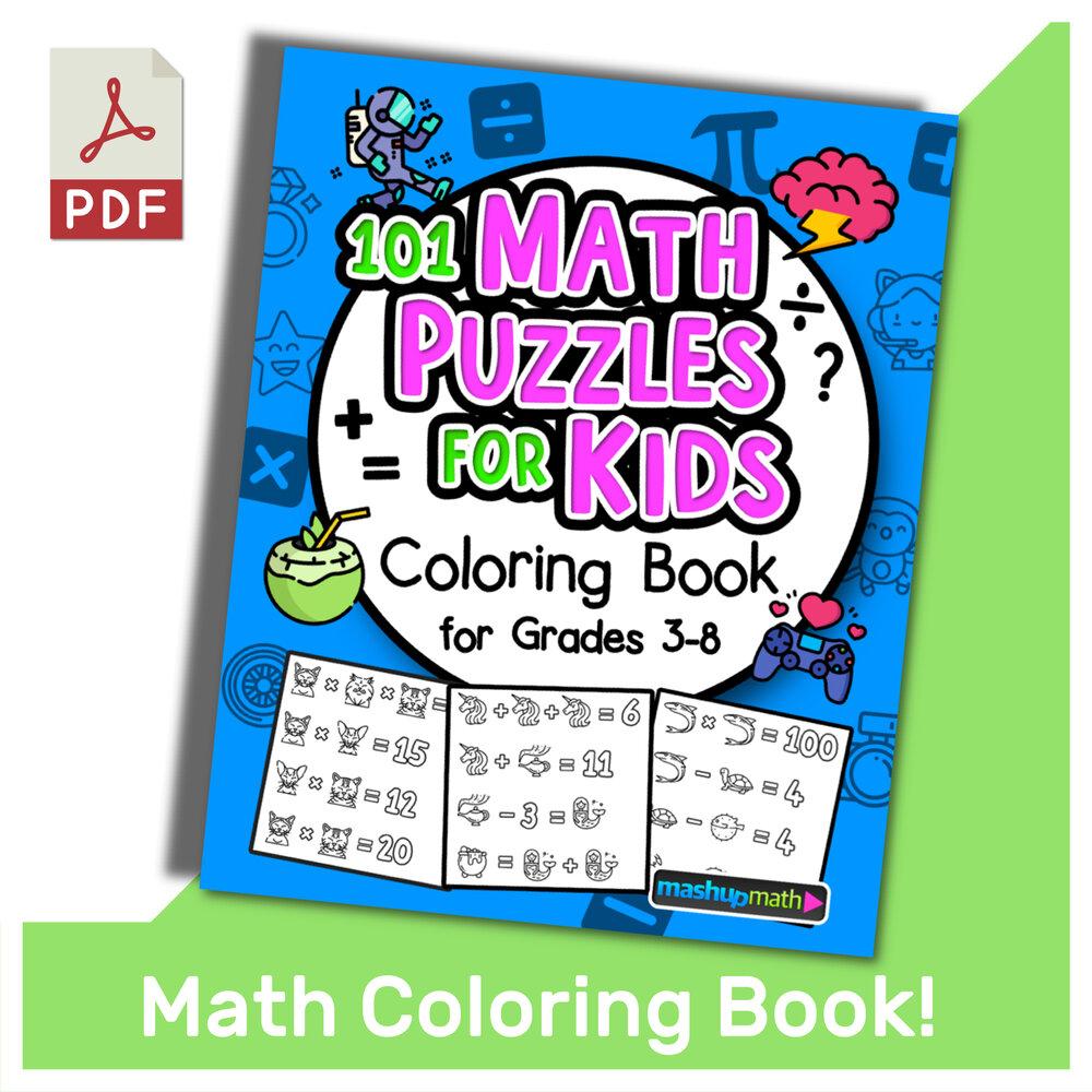 101 Math Coloring Worksheets Coloring Book For Grades 3 8 Mashup Math