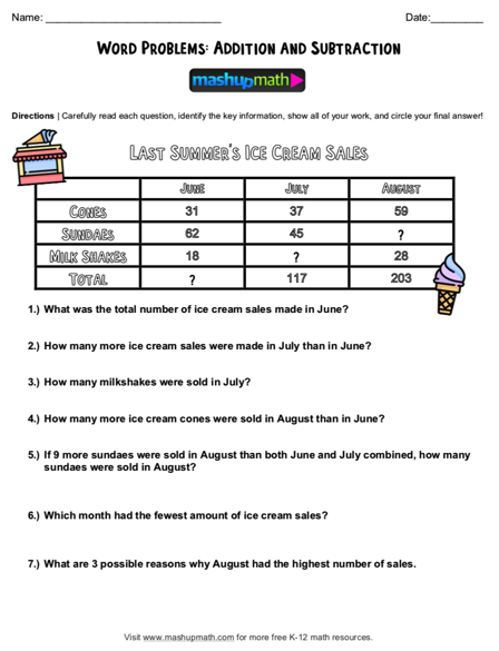 Free Math Sheets For 4th Grade (Easy To Print!) — Mashup Math