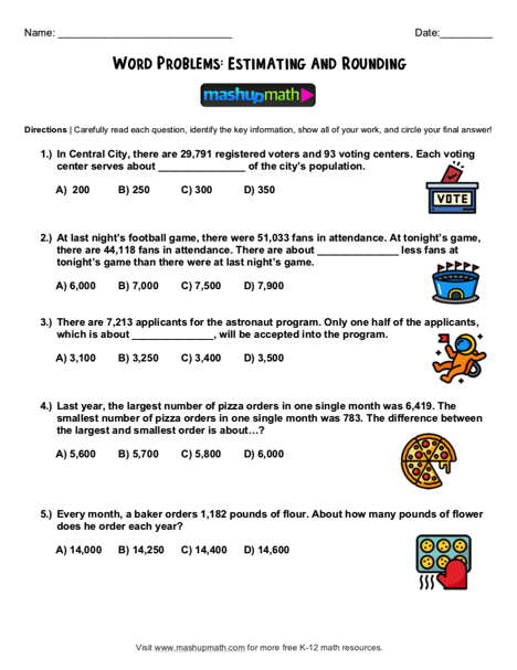 5th Grade Math Word Problems Free Worksheets With Answers Mashup Math