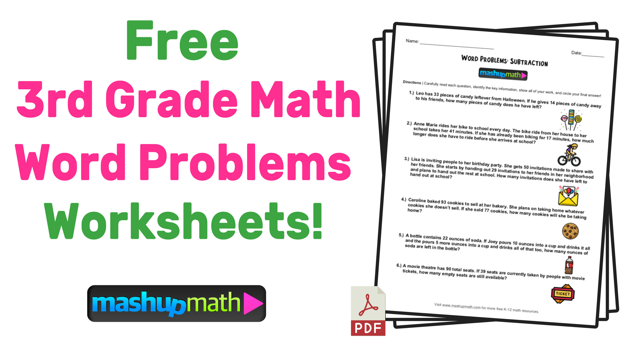 3rd Grade Math Word Problems: Free Worksheets With Answers — Mashup Math