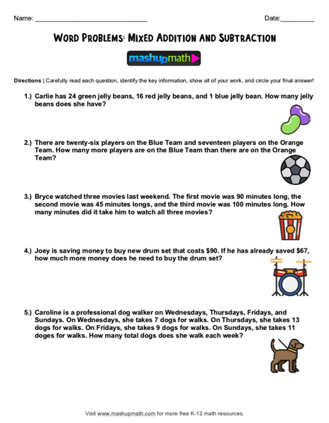 Free 2nd Grade Math Word Problem Worksheets — Mashup Math