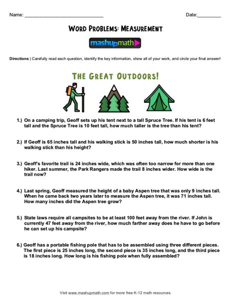 Free 2nd Grade Math Word Problem Worksheets — Mashup Math