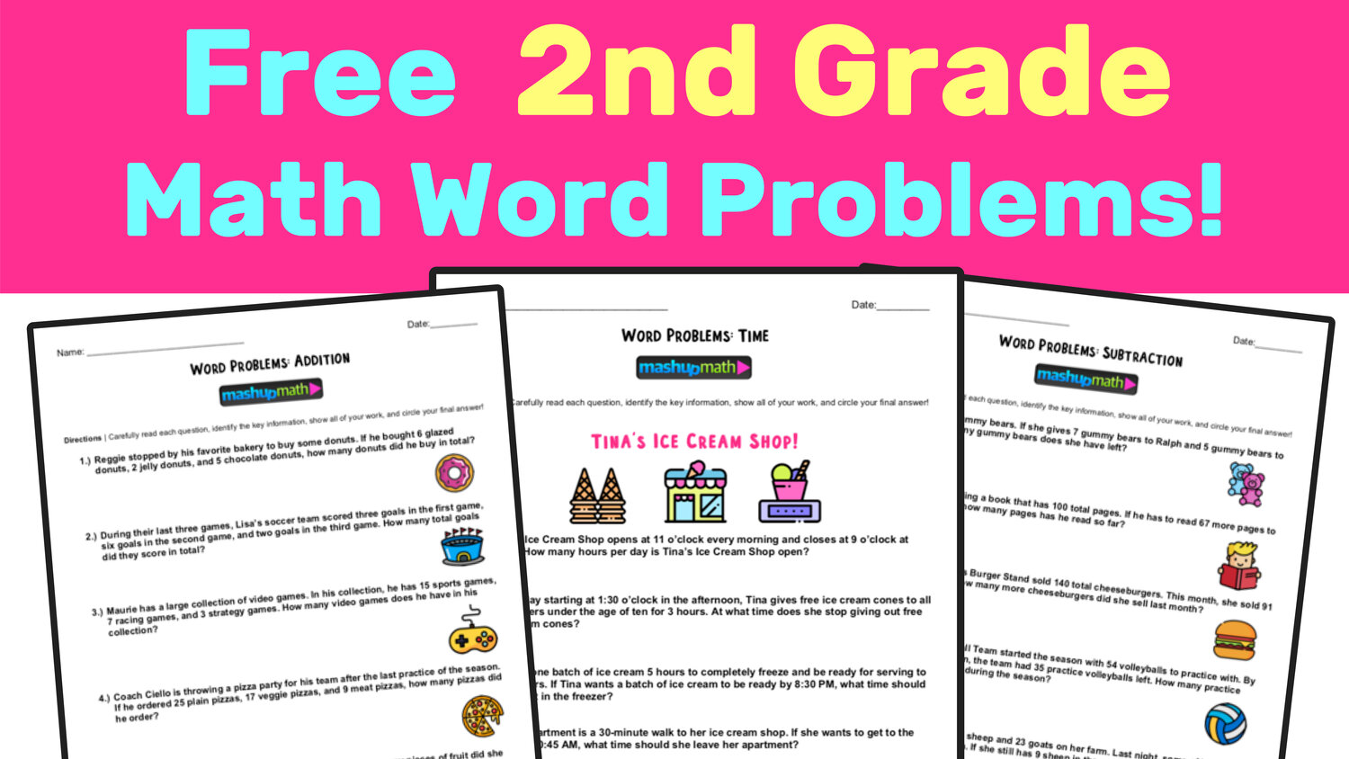Free 2nd Grade Math Word Problem Worksheets Mashup Math
