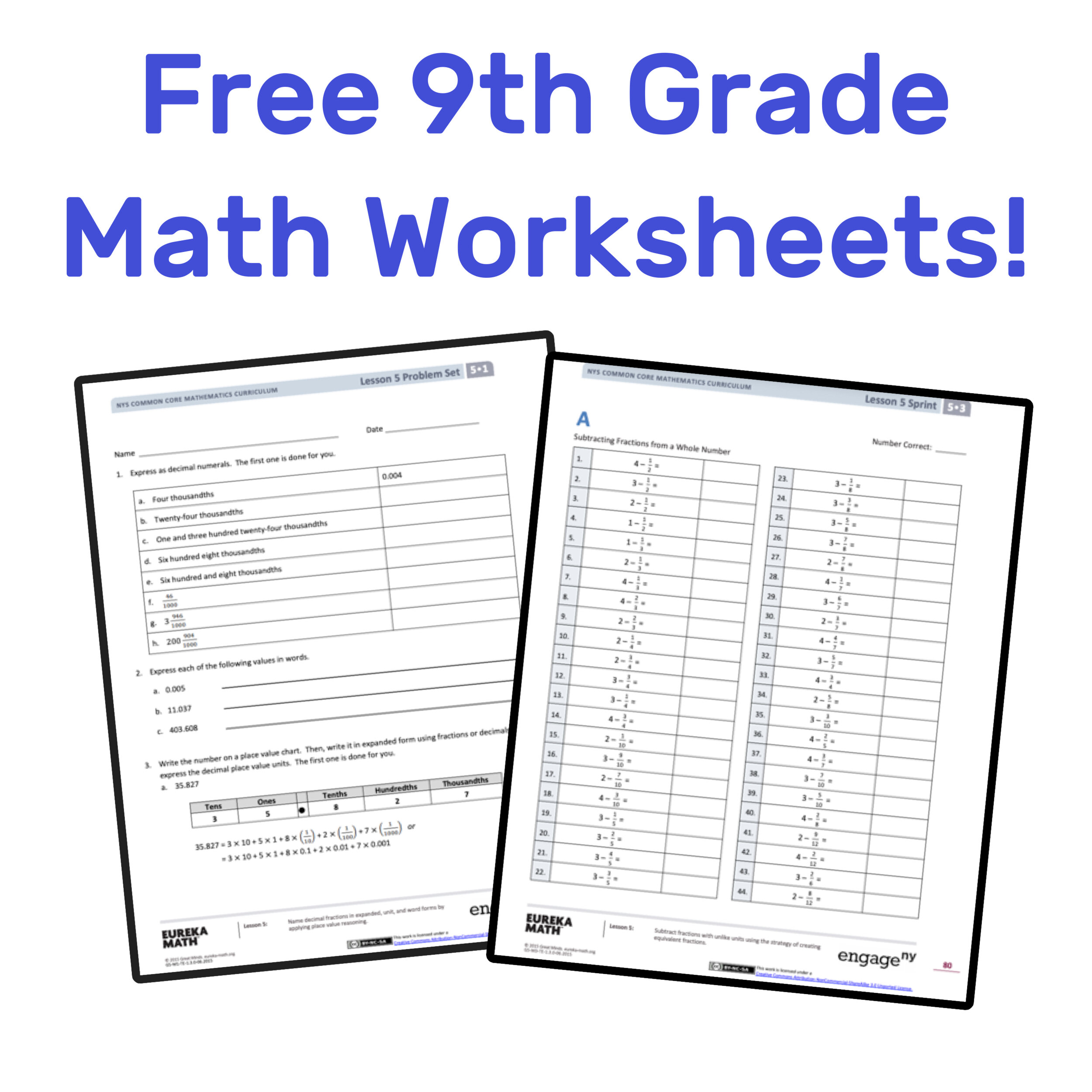 49++ Perfect 9th grade math worksheets with ideas
