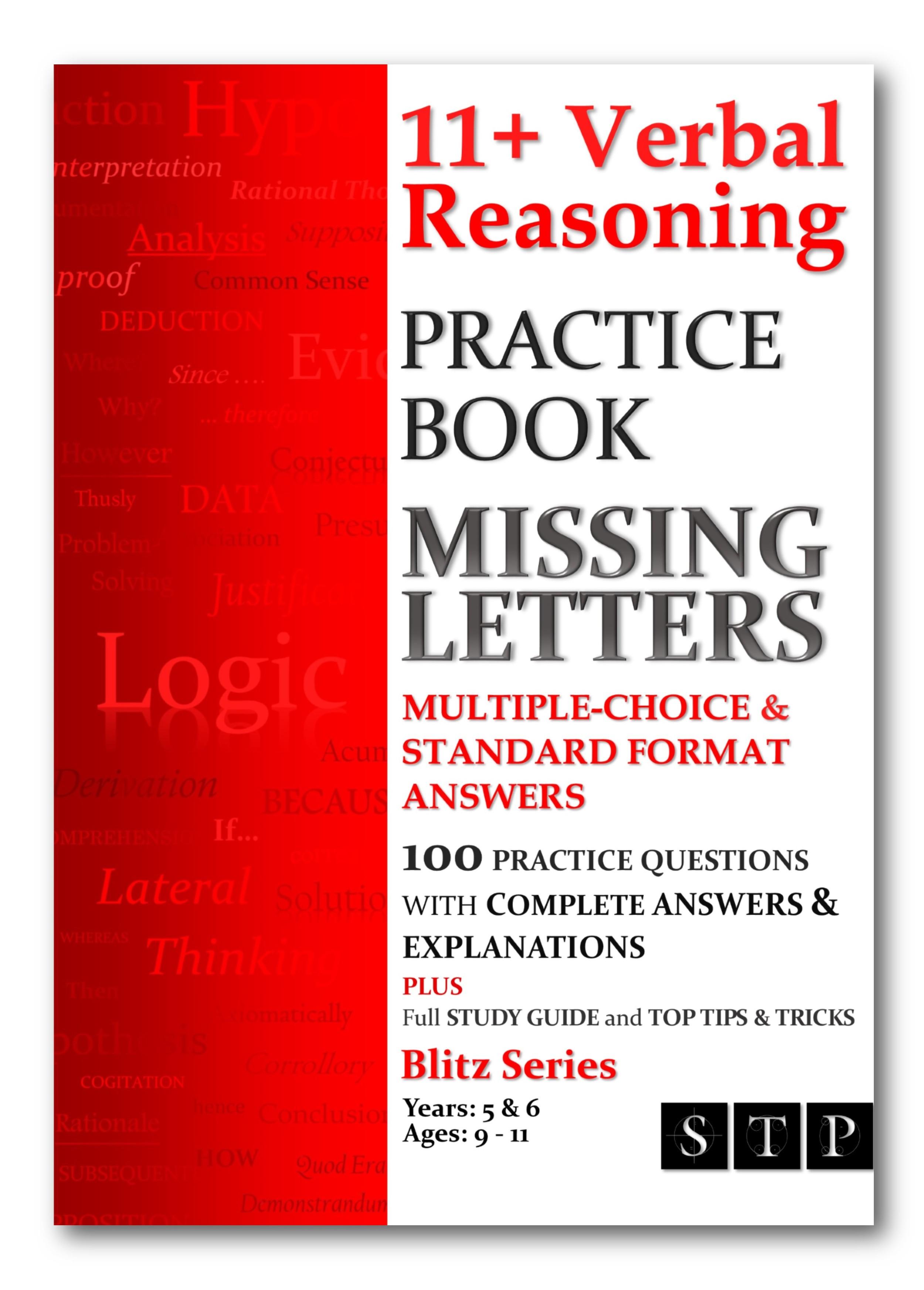 11+ Verbal Reasoning Practice Book: Missing Letters
