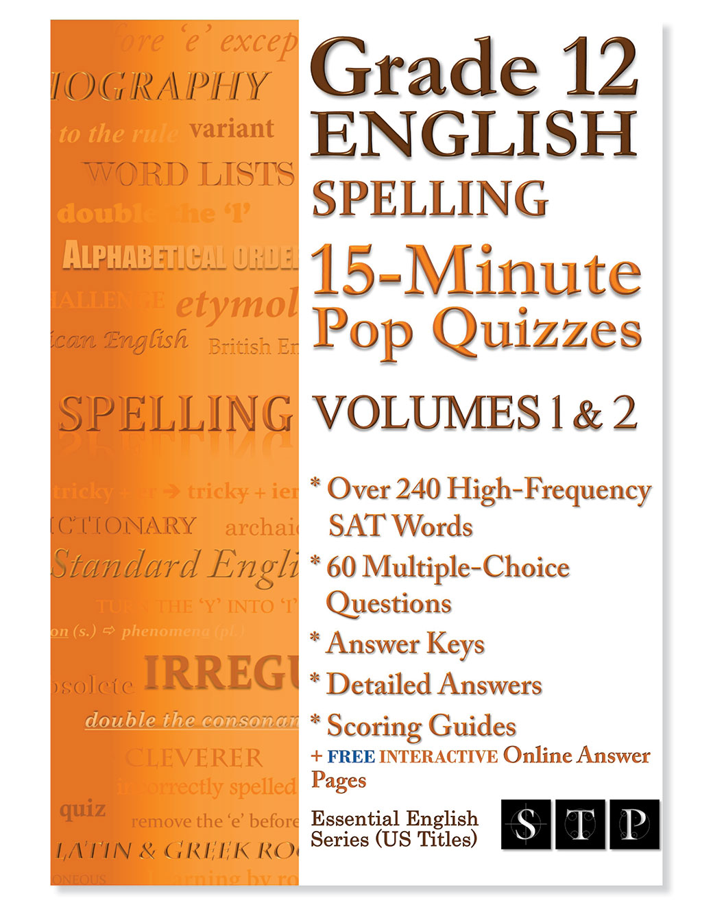 STP Books Grade 12 English Spelling 15-Minute Pop Quizzes Volumes 1 & 2