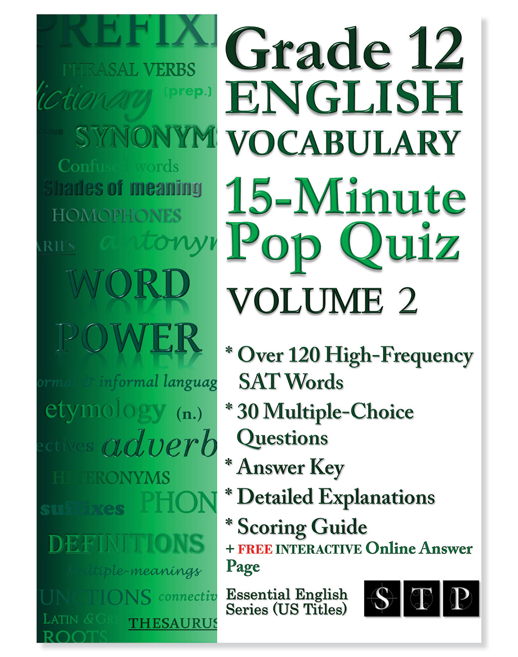 STP Books Grade 12 English Vocabulary 15-Minute Pop Quiz Volume 2