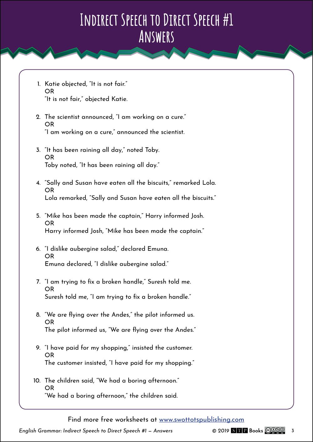 Indirect Direct Speech English Worksheet 01 Stp Books