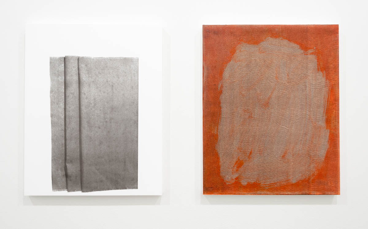 Left: Perry Doane  Full Standard  Silkscreen ink on gessoed panel 17.5 x 14 inches 2015  Right: Perry Doane  Guidon  Silkscreen ink on gessoed panel 17.5 x 14 inches 2015