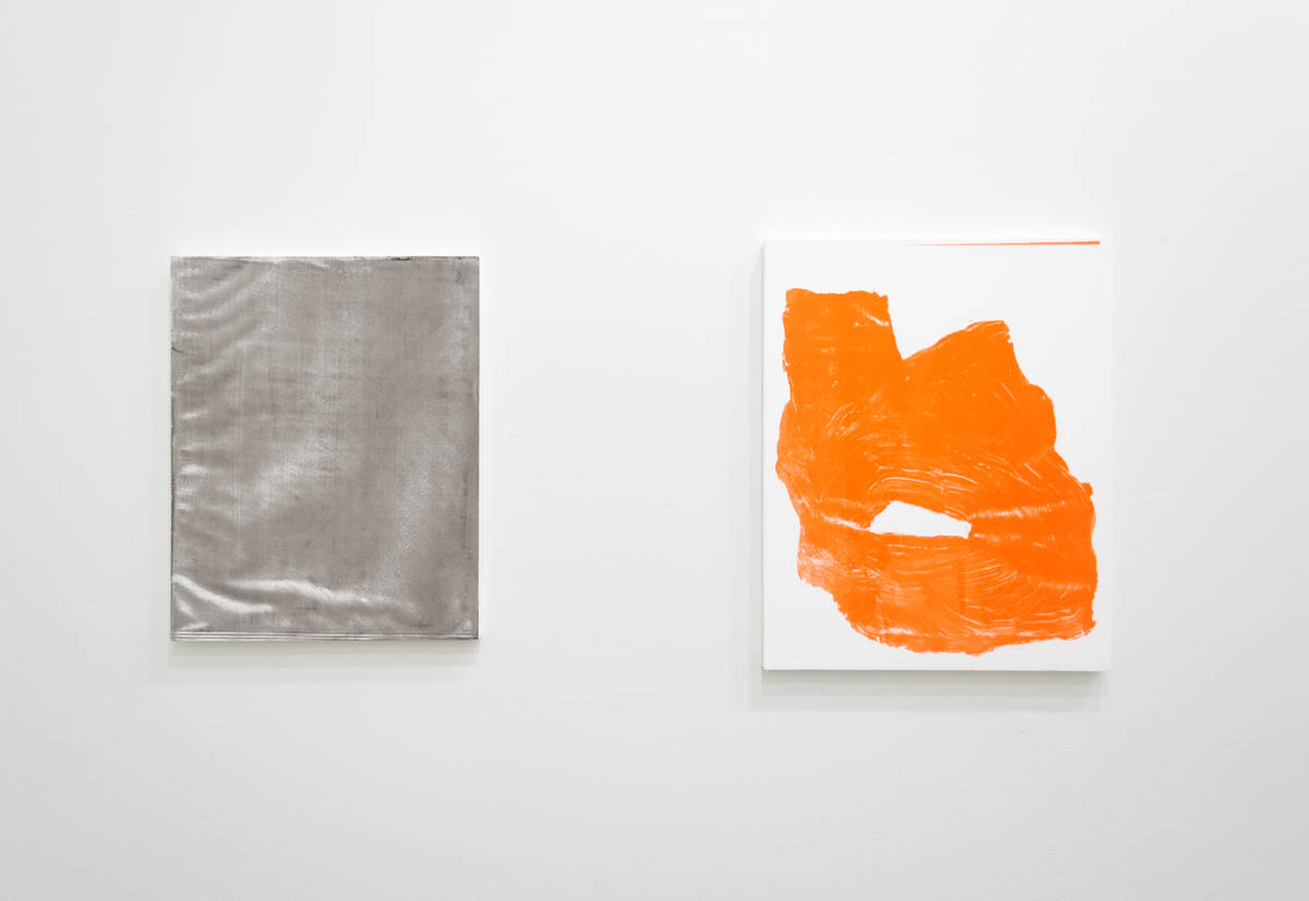Left: Perry Doane  Arena  Silkscreen ink on gessoed panel 17.5 x 14 inches     2015  Right: Perry Doane  Inbuilder (Caustic)  Silkscreen ink on gessoed panel 19.5 x 15.5 inches 2015