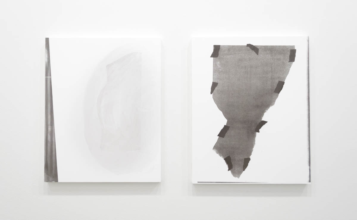 Left: Perry Doane  Untitled (Diptych)  Silkscreen ink on gessoed panel 19.5 x 15.5 inches 2015   Right: Perry Doane  M.M.(34)  Silkscreen ink on gessoed panel 19.5 x 15.5 inches 2015