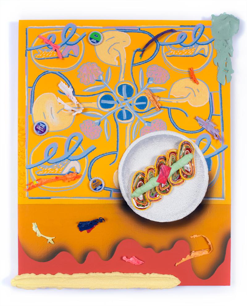 Ben Sanders  The Last Fiesta of Señor Fancy Pants  Arylic, Caran d'Arche, bottle caps on panel 16 x 20 inches 2015