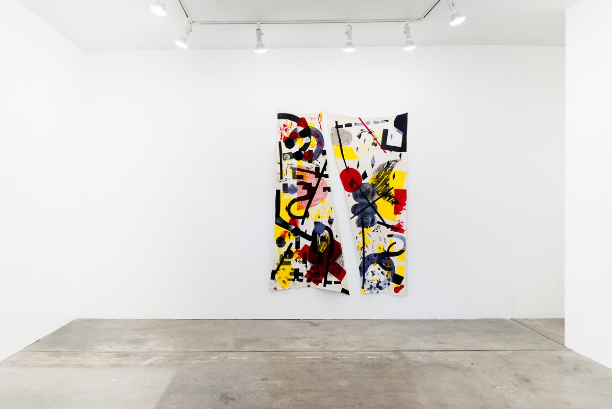 Jovencio de la Paz  Skin Broken by Prisms  Screenprint and monoprint on wool 72 x 106 inches 2016