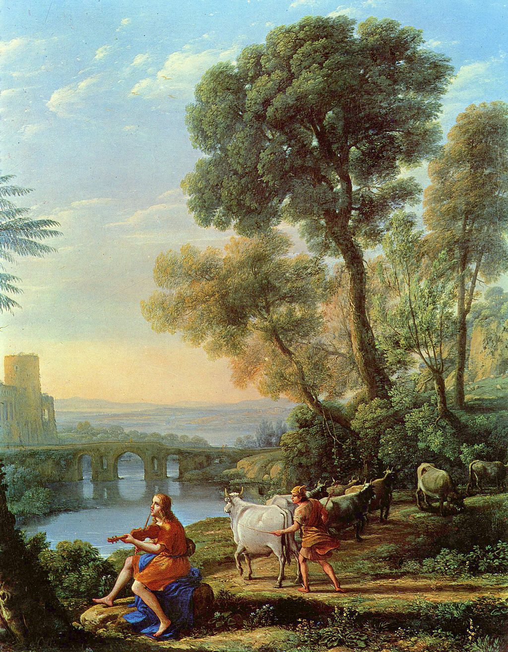 """Claude Lorrain, """"Landscape with Apollo Guarding the Herds of Admetus and Mercury Stealing Them,"""" (1645). Image via  wikipedia.org ."""