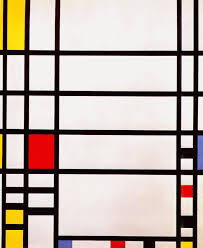 """""""Trafalgar Square"""" by Piet Mondrian. Image via www.wikiart.org .  Here, Mondrian's minimalism serves as a visual analog to Ringo Starr's musical minimalism. We can think of the boxes as beats which are either played (the boxes filled with color) or omitted (the boxes that are blank white).   I am indebted to Bill Slichter for sharing with mehis insight aboutthe connection between Mondrian's art and rhythm in music."""