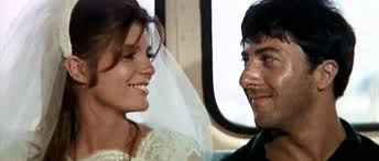 Katharine Ross and Dustin Hoffman as Elaine and Ben in The Graduate.  Image via   quirkyberkeley.com .