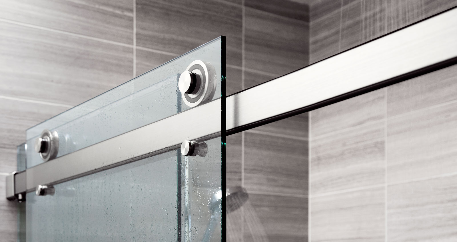 Easily the cleanest-looking system available for sliding glass shower enclosures.