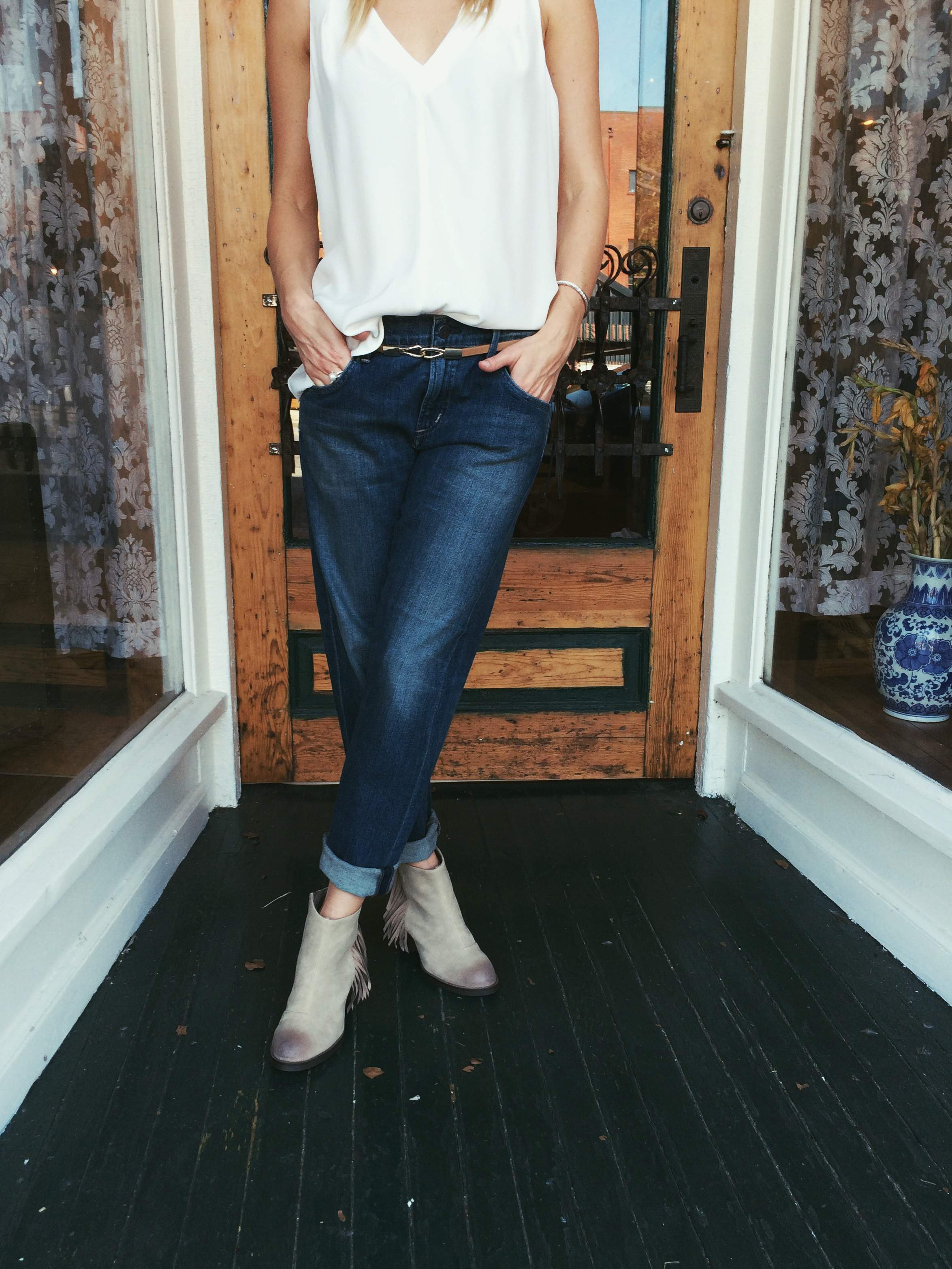Jeans: Citizens of Humanity. Top: Alice & Trixie. Shoes: Seychelles.