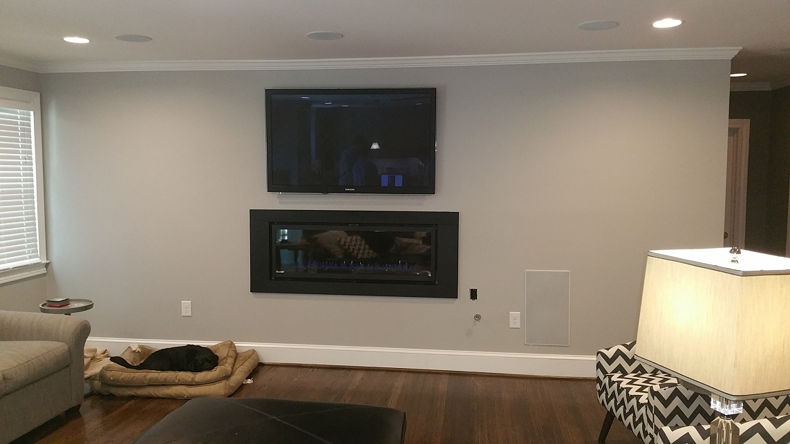 A look at the living room and fireplace