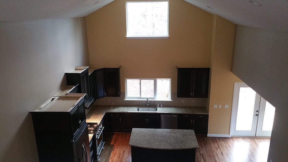 The kitchen seen from the loft
