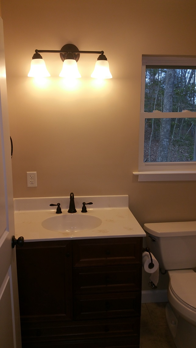 The vanity in the secondary bath