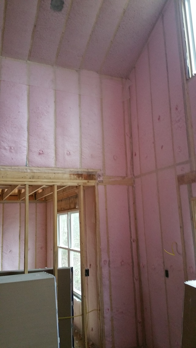 Walls were insulated with blown in fiberglass to get an R-15 rating