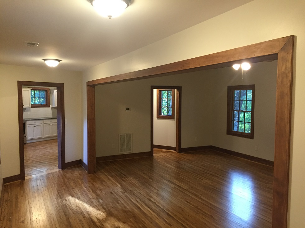 This pictures really shows off the beauty of the original maple floors that go throughout the cabin