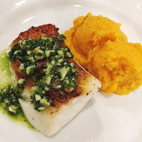 Sea Bass w/ Chimichurri sauce & Celeriac Puree' {Paleo & Whole 30} -