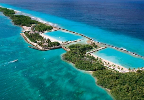 An aerial view of the private island source: Marriott.com