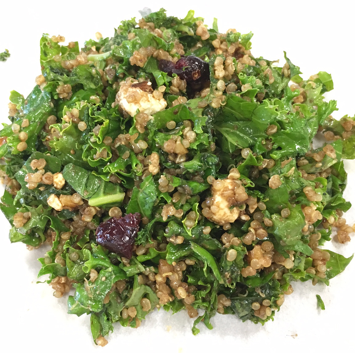 Kale Quinoa with Walnuts, Feta & Cranberries - Curly kale massaged and finely chopped along with gluten-free protein packed quinoa form the basis for the high fiber side. Rich flavors from walnuts, feta and cranberries round out the greens for a satisfying result.Dressing: enfuso fig balsamic vinegar, enfuso lemon olive oilCalories per serving: 230Price/lb: $10.00