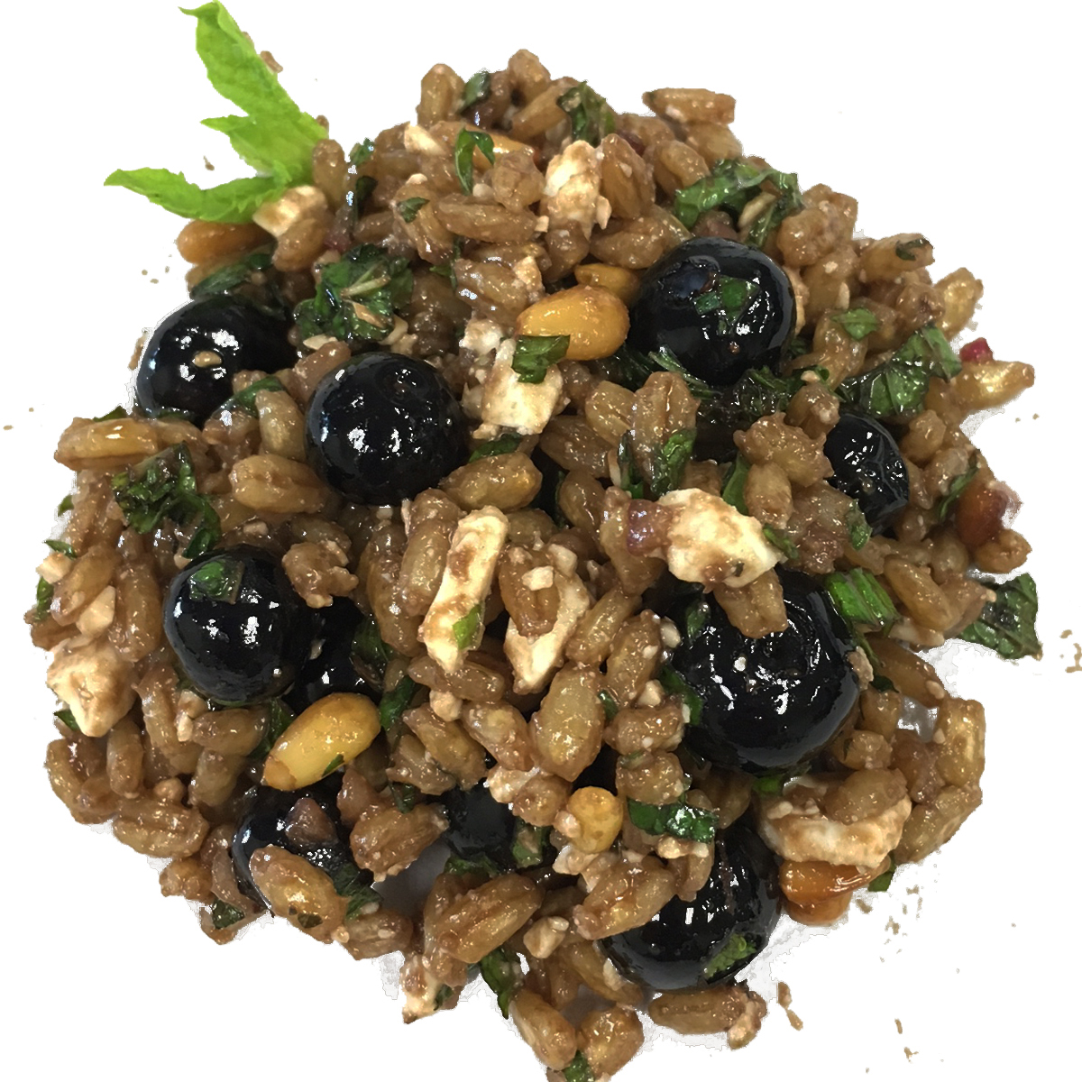 Pearl Barley Blueberry Pilaf with Mint & Feta - It's time for summer blueberries! We love the fresh fruity flavor they add to this satisfying but light summer pilaf made with barley, one of the oldest consumed grains in the world. It's high fiber content, vitamins, minerals, and antioxidants make barley one of the best whole grain choices. Get your fiber and antioxidents the easy way.Dressing: enfuso blueberry balsamic vinegar, enfuso lemon olive oil, cold pressed ginger juiceCalories per serving: 210Price/lb: $10.50