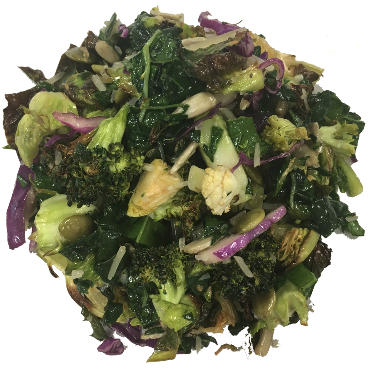 Roasted Cruciferous Slaw - A relatively low carbohydrate option for those related diets. To make it lower in sugar ... just request olive oil only dressing! This salad is loaded with cruciferous veggies for tons of soluable fiber (the antidote for cholesterol) and anti-oxidents for an overall health boost. All of the ingredients are gluten free. We roast our veggies for extra flavor and to give your chompers a bit of a rest.Dressing: enfuso white raspberry pear balsamic vinegar and lemon olive oilCalories per Serving: 140Price/lb: $10.00