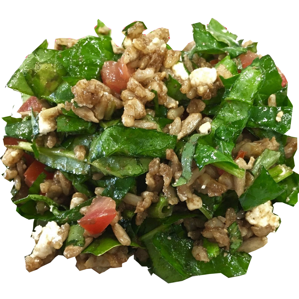 Brown Rice with Fresh Spinach and Basil - Gluten free brown rice tossed with fresh organic spinach and basil, chopped heirloom tomatoes, sunflower seeds and feta cheese. During summer season we add fresh strawberries and in Fall Winter we add more herbs and greens.Dressing: enfuso strawberry balsamic vinegar and basil olive oilCalories per serving: 170Price/lb: $9.00