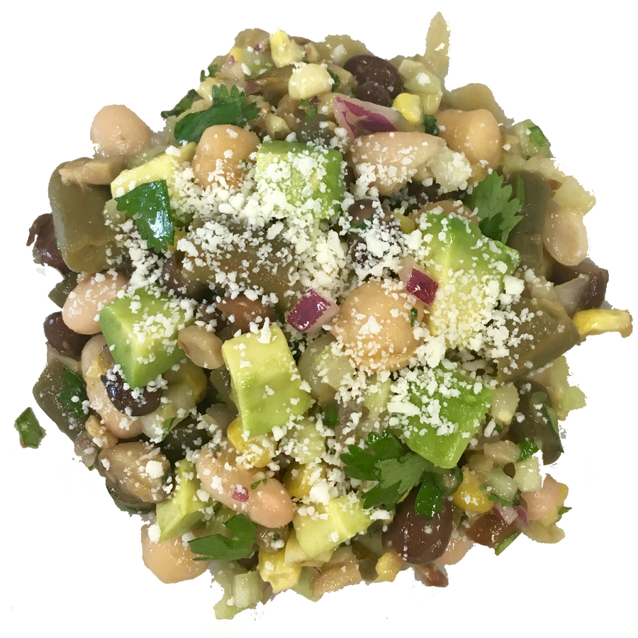 Multi-bean with avocado - Our multi-bean salad had to have roasted corn for summer. We use black, northern white, garbanzo, fava, and beans. A slightly tart dressing, spicy purple onion, fresh cilantro, ripe avocado and cotija cheese sends it slighly south of the border. Fresh, light and satisfying for a hot summer day.Dressing: Jalapeño and garlic olive oil with mango balsamic and champagne vinegar.Calories per serving: 140Price/lb: $10.00