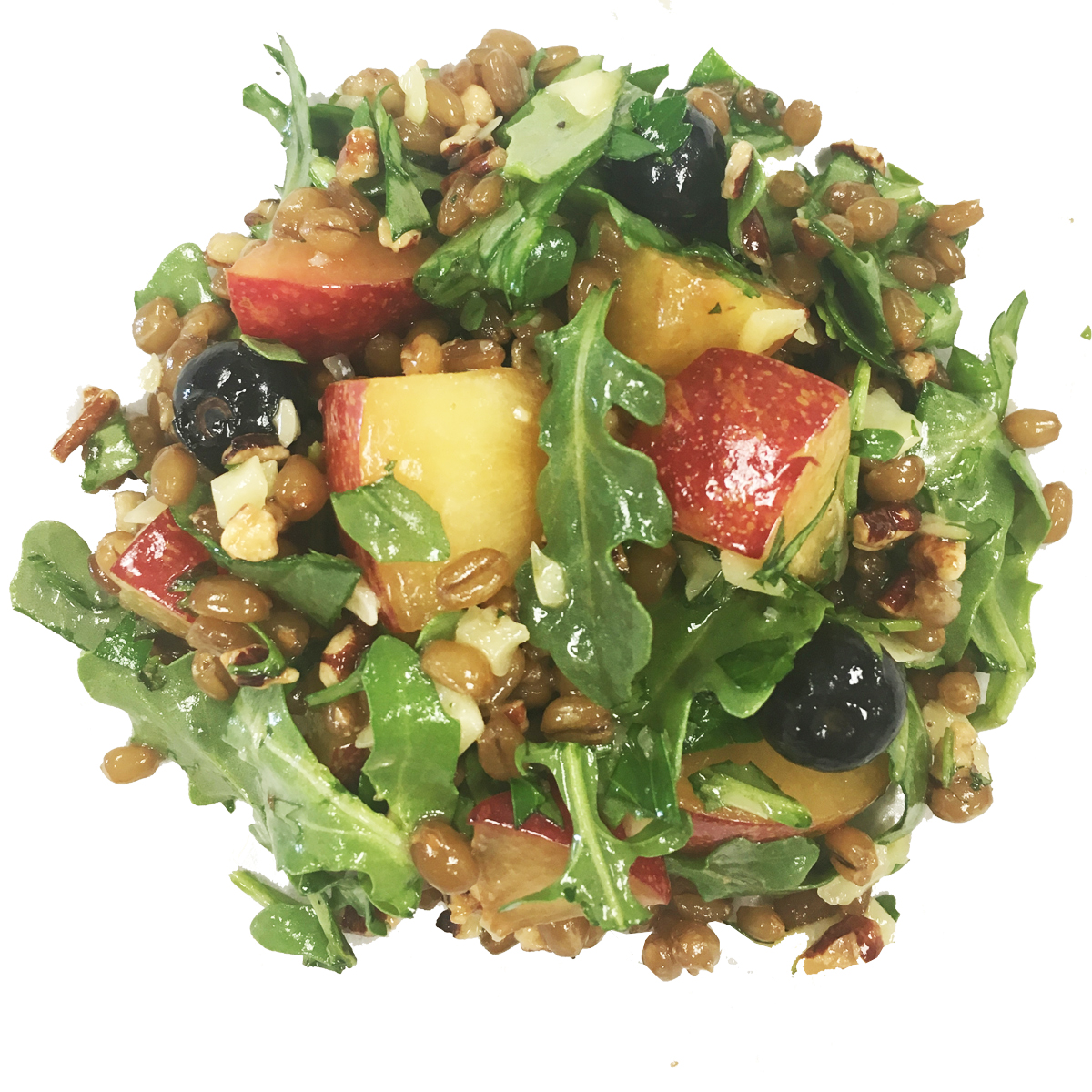 Wheat berries with fruit and greens - We start with slow cooked whole grain wheat berries that are nutty and protein-packed. For summer we use tree ripened organic pluots (plum/apricot) and plump blueberries (photo). In Fall/Winter we switch to crisp sweet organic apples, pomegranate seeds and figs if available. We finish it with cave aged white cheddar and chopped pecans.Dressing: Summer uses peach balsamic to emphasize the stone fruit flavor. Winter uses Pomegranate or Fig Balsamic. Both are mellowed with a buttery arbequina extra virgin olive oil.Calories per serving: 210Price/lb: $10.00